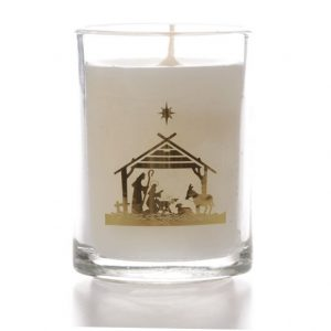 Glass Candle Nativity Design x 6