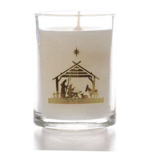 Glass Candle Nativity Design x 6