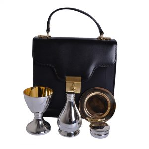 4 PCE Silver Plated Communion Set inc Bag