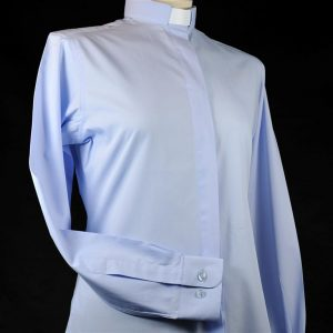 Ladies Fairtrade Clerical Shirt Light Blue
