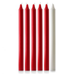 15″ X 1 1/8″ Advent Candles (5 Red & 1 White)