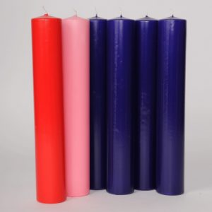 12″ X 2″ Lentern Candles (4 purple,1 pink & 1 red)