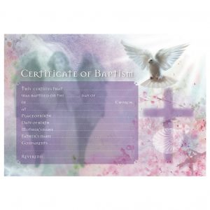 Baptism Certificates With Cross & Dove Inc. Envelopes (25)