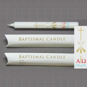 9″ x 7/8″ Baptismal Candles (Boxed) – 20
