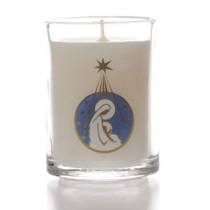 Glass Candle Mary/Child Design x 6