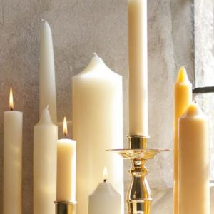 15″ x 1″ Church Candles with Beeswax – Pack 24