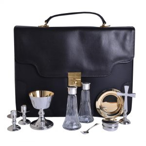 9 PCE Silver Plated Communion Set inc Bag