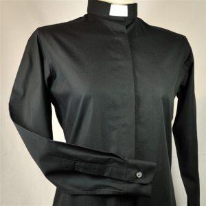 Ladies Fairtrade Clerical Shirt Black