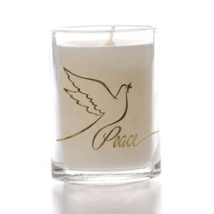 Glass Candle Peace Dove Design x 6