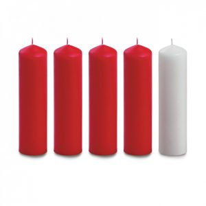 8″ X 2″ Advent Candles (4 Red & 1 White)