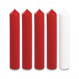 18″ X 2″ Advent Candles (4 red & 1 white)