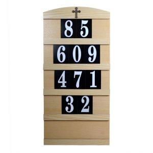 5 Row Oak Hymn Board